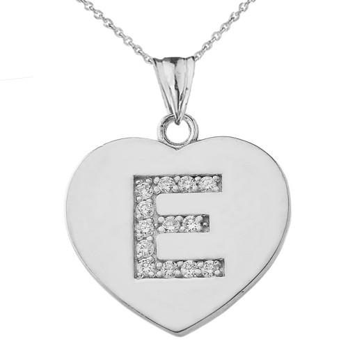 "Diamond Initial ""E"" Heart Pendant Necklace in White Gold"