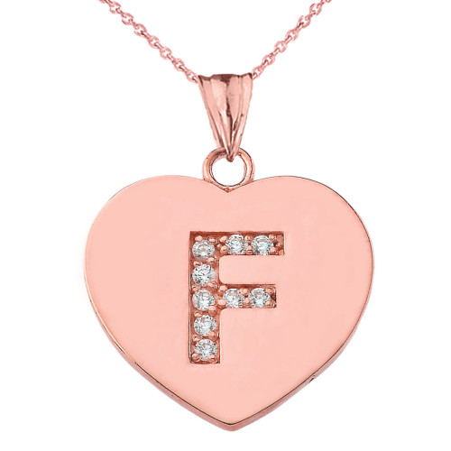 """Diamond Initial """"F"""" Heart Pendant Necklace in Rose Gold"""