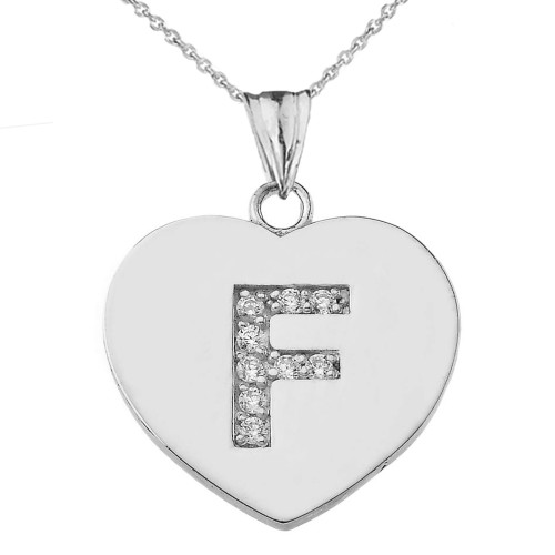 """Cubic Zirconia Initial """"F"""" Heart Pendant Necklace in Sterling Silver"""
