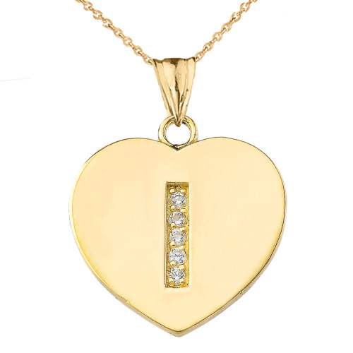 """Diamond Initial """"I"""" Heart Pendant Necklace in Yellow Gold"""