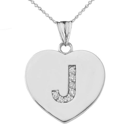 """Cubic Zirconia Initial """"J"""" Heart Pendant Necklace in Sterling Silver"""