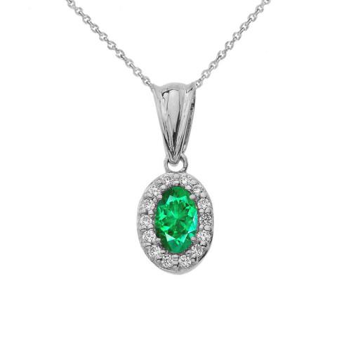 Diamond & Genuine Emerald Pendant Necklace in White Gold