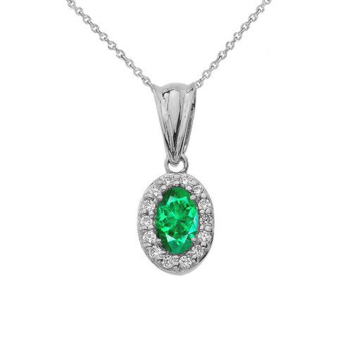Diamond & Genuine Emerald Pendant Necklace in White Gold