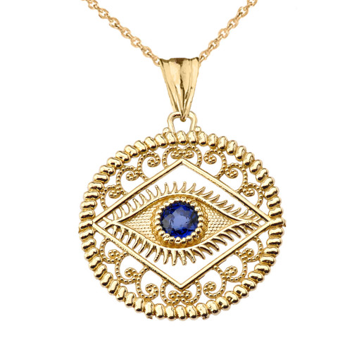 Round Filigree Evil Eye Pendant Necklace in Yellow Gold
