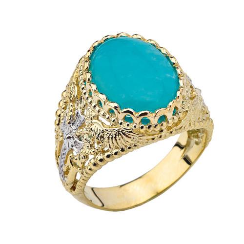 Genuine Amazonite Modern Cross Filigree Mens Ring in Yellow Gold