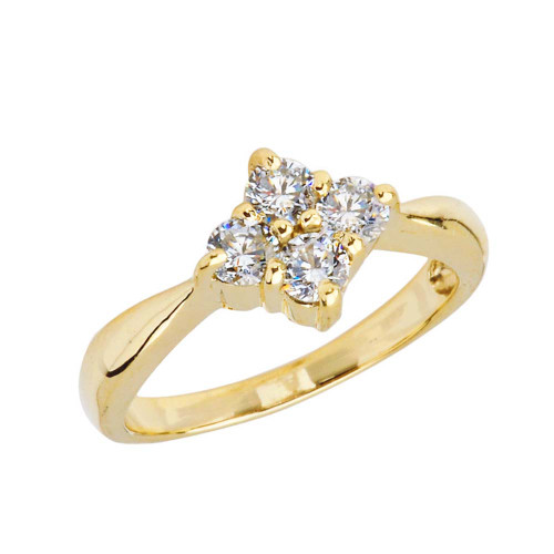 4 Stone Cluster Promise Ring in Yellow Gold