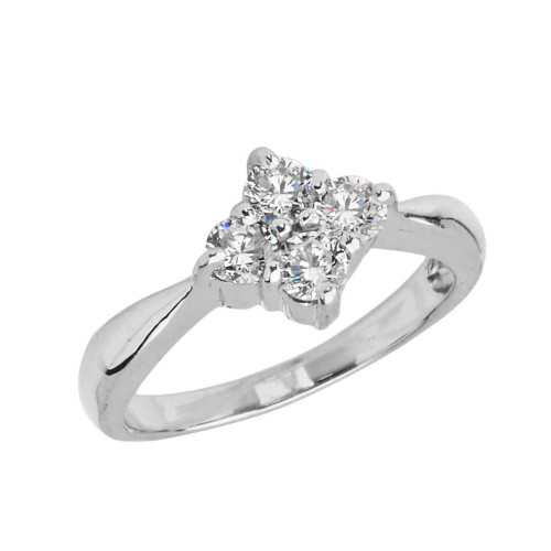4 Stone Cluster Promise Ring in Sterling Silver