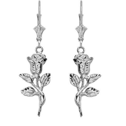 14K Sparkle Cut Rose Leverback Earrings in White Gold
