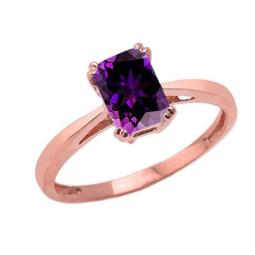 1 CT Emerald Cut Amethyst CZ Solitaire Ring in Rose Gold