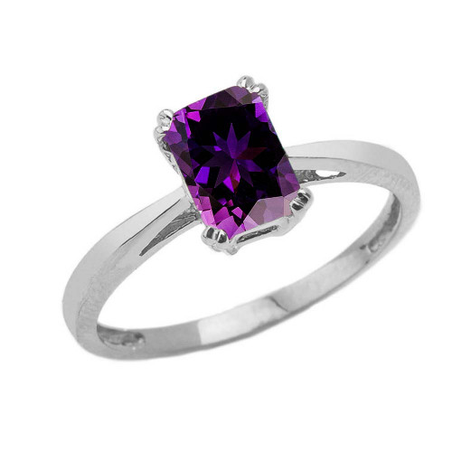 1 CT Emerald Cut Amethyst CZ Solitaire Ring in Sterling Silver