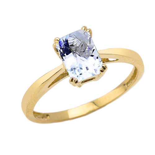 1 CT Emerald Cut Aquamarine CZ Solitaire Ring in Yellow Gold