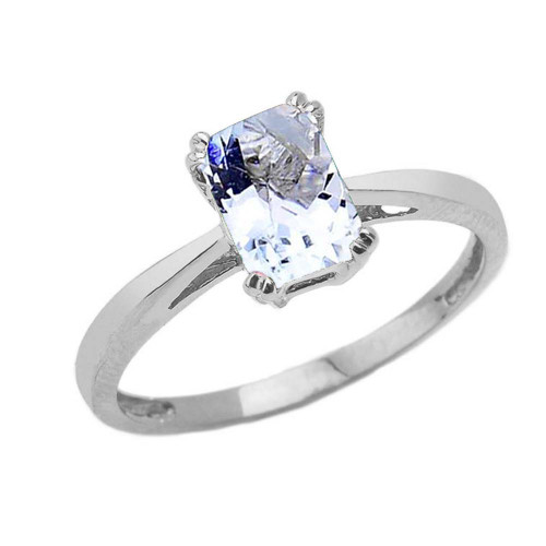 1 CT Emerald Cut Aquamarine CZ Solitaire Ring in White Gold