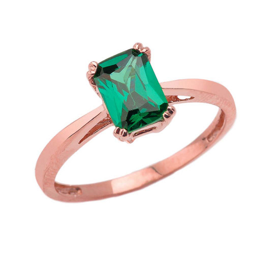 1 CT Emerald Cut Emerald CZ Solitaire Ring in Rose Gold