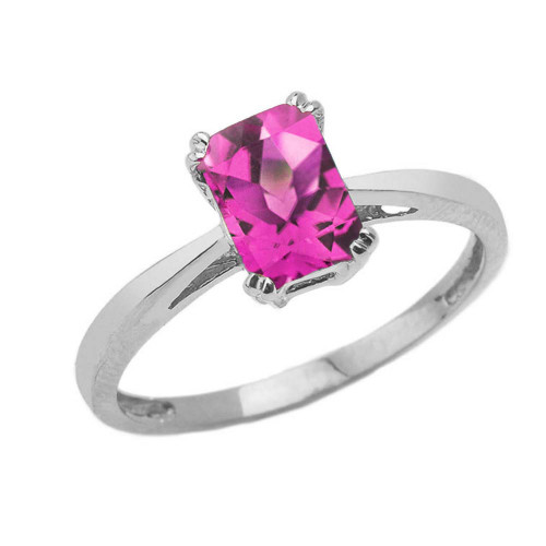 1 CT Emerald Cut Alexandrite CZ Solitaire Ring in White Gold