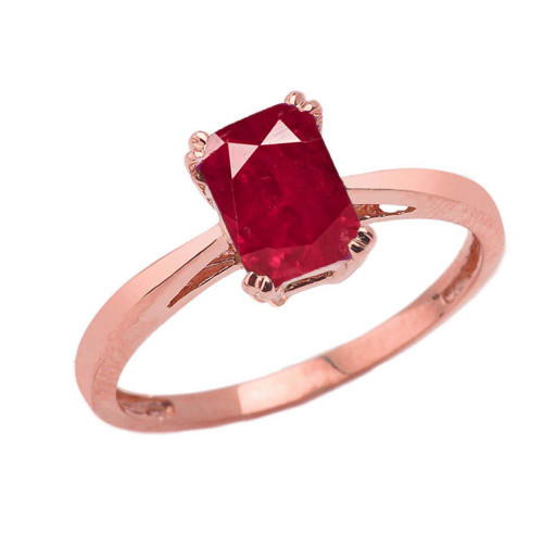 1 CT Emerald Cut Ruby CZ Solitaire Ring in Rose Gold