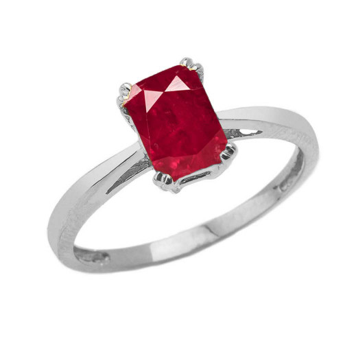 1 CT Emerald Cut Ruby CZ Solitaire Ring in White Gold