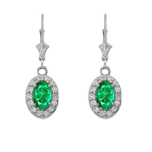 Diamond and Emerald Oval Leverback Earrings in White Gold