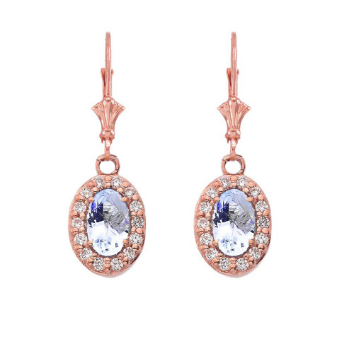 Diamond and Aquamarine Oval Leverback Earrings in Rose Gold