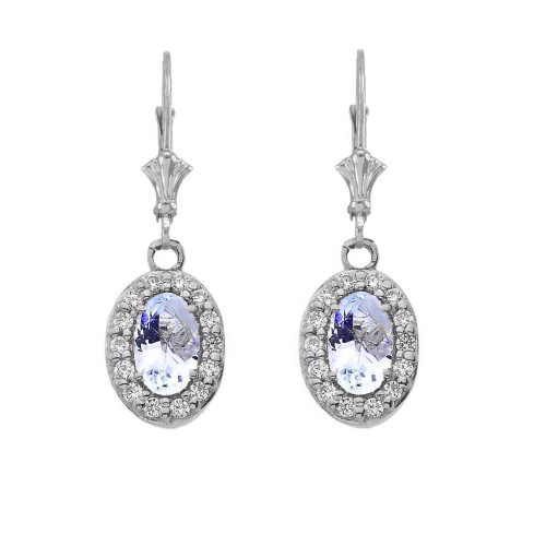 Diamond and Aquamarine Oval Leverback Earrings in White Gold