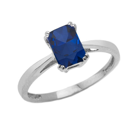 1 CT Emerald Cut Sapphire CZ Solitaire Ring in White Gold