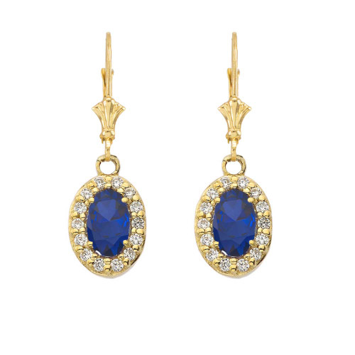 Diamond and Sapphire Oval Leverback Earrings in Yellow Gold