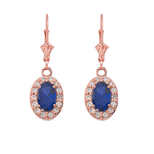 Diamond and Sapphire Oval Leverback Earrings in Rose Gold