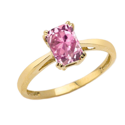 1 CT Emerald Cut Pink CZ Solitaire Ring in Yellow Gold