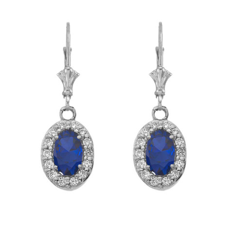Diamond and Sapphire Oval Leverback Earrings in White Gold