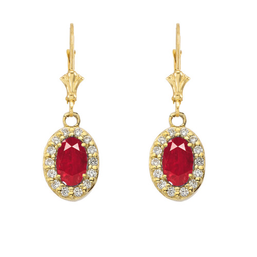 Diamond and Ruby Oval Leverback Earrings in Yellow Gold