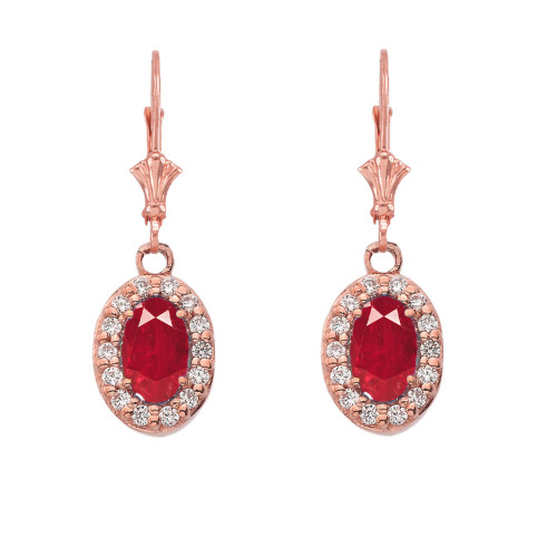 Diamond and Ruby Oval Leverback Earrings in Rose Gold