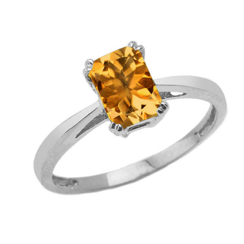 1 CT Emerald Cut Citrine CZ Solitaire Ring in White Gold