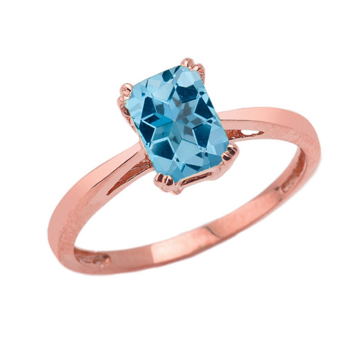 1 CT Emerald Cut Blue Topaz Solitaire Ring in Rose Gold