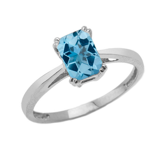 1 CT Emerald Cut Blue Topaz Solitaire Ring in White Gold
