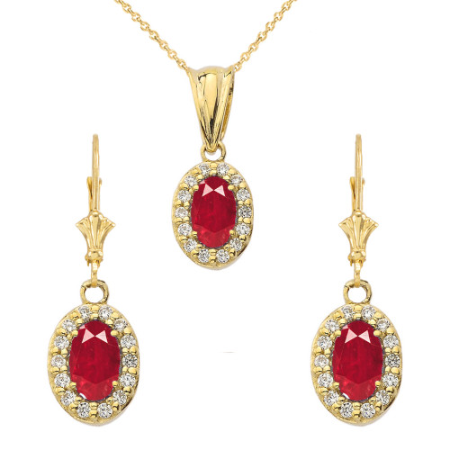Diamond and Ruby Oval Pendant Necklace and Earrings Set in Yellow Gold