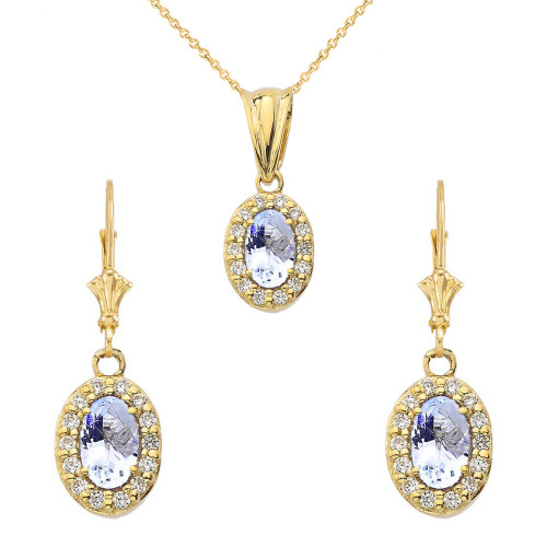Diamond and Aquamarine Oval Pendant Necklace and Earrings Set in Yellow Gold