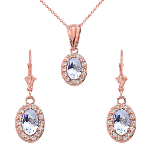 Diamond and Aquamarine Oval Pendant Necklace and Earrings Set in 14k Rose Gold
