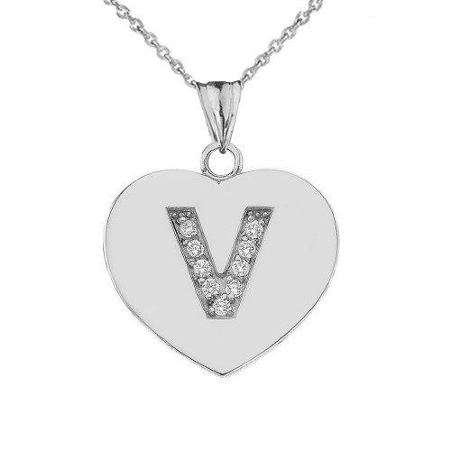 """CZ Initial """"V"""" Heart Pendant Necklace in Sterling Silver"""