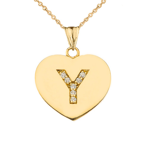 "Diamond Initial ""Y"" Heart Pendant Necklace in Yellow Gold"