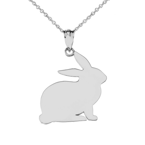 High Polished Bunny Pendant Necklace in Sterling Silver