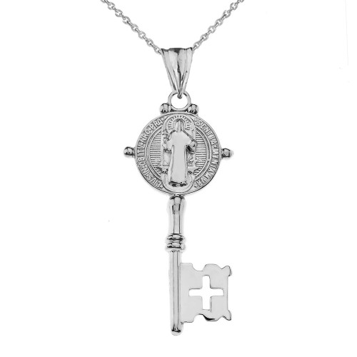 Saint Benedict Double Sided Cross Key Pendant Necklace in Sterling Silver