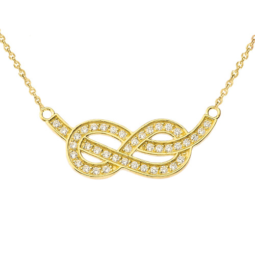 14K Diamond Infinity Knot Pendant Necklace in Yellow Gold