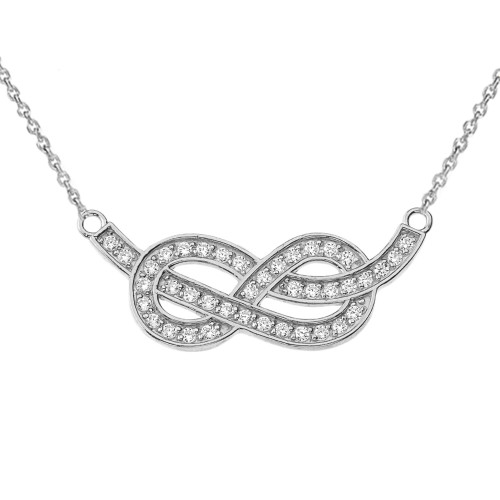 14K Diamond Infinity Knot Pendant Necklace in White Gold