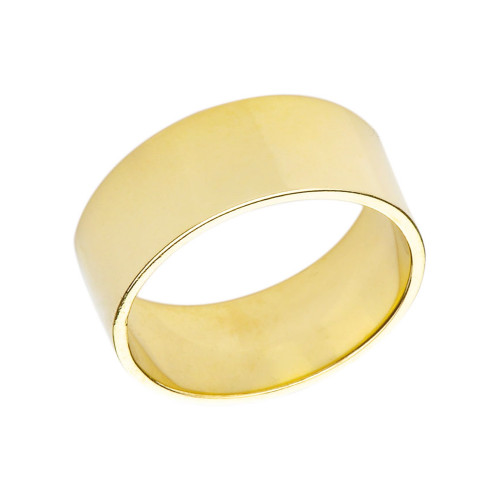Solid Yellow Gold 9mm Flat Wedding Band