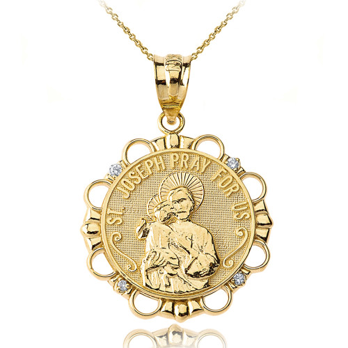 Solid Yellow Gold Diamond Saint Joseph Pray for Us Circle Pendant Necklace