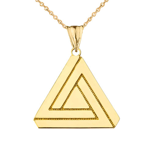 The Impossible (Penrose) Triangle Pendant Necklace in Yellow Gold