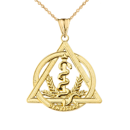 Dentistry Symbol Pendant Necklace in Yellow Gold