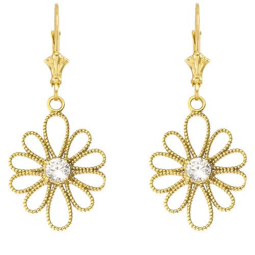 Designer Milgrain Flower Earrings in Yellow Gold