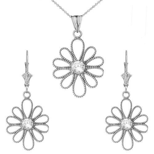 14K Designer Milgrain Flower Pendant Necklace Set in White Gold