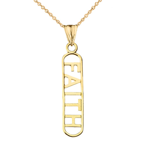 """""""FAITH"""" Pendant Necklace in Yellow Gold"""