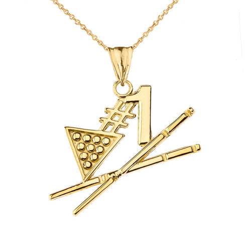 #1 Billiards Player Pendant Necklace in Yellow Gold